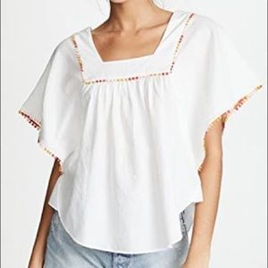 Madewell Pom-Pom Butterfly Top L White Oversized